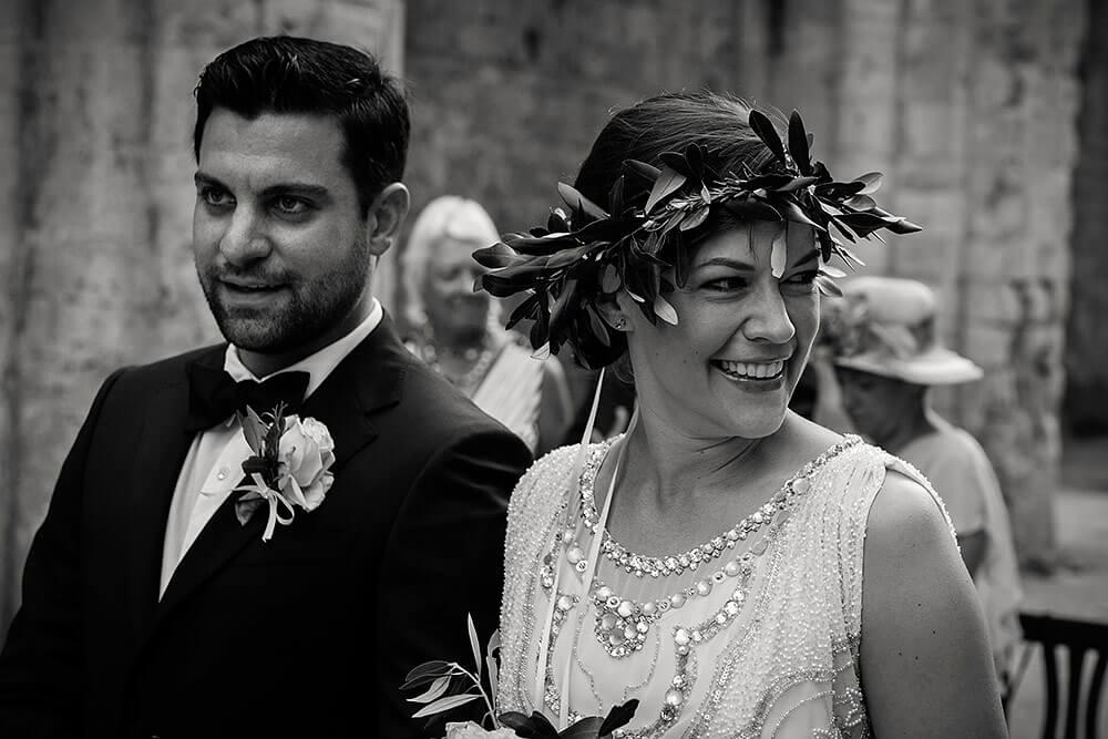 wedding in san galgano abbey, bride and groom