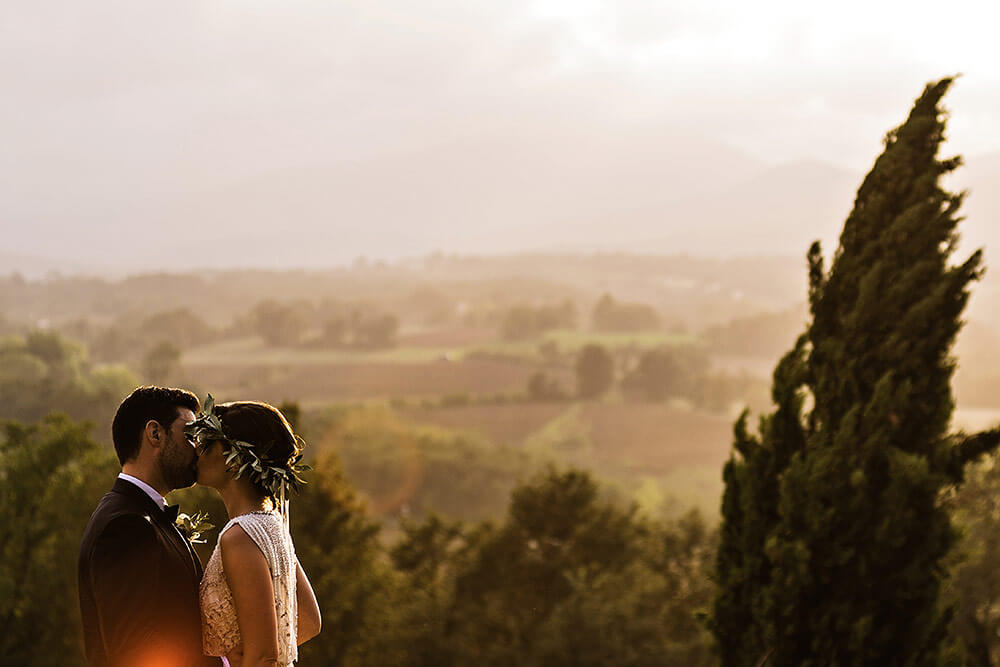 san galgano wedding, suggestive bride and groom photo at sunset