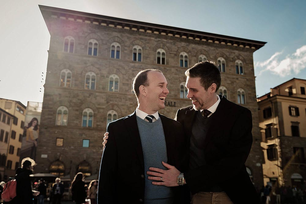 same sex engagement session in tuscany