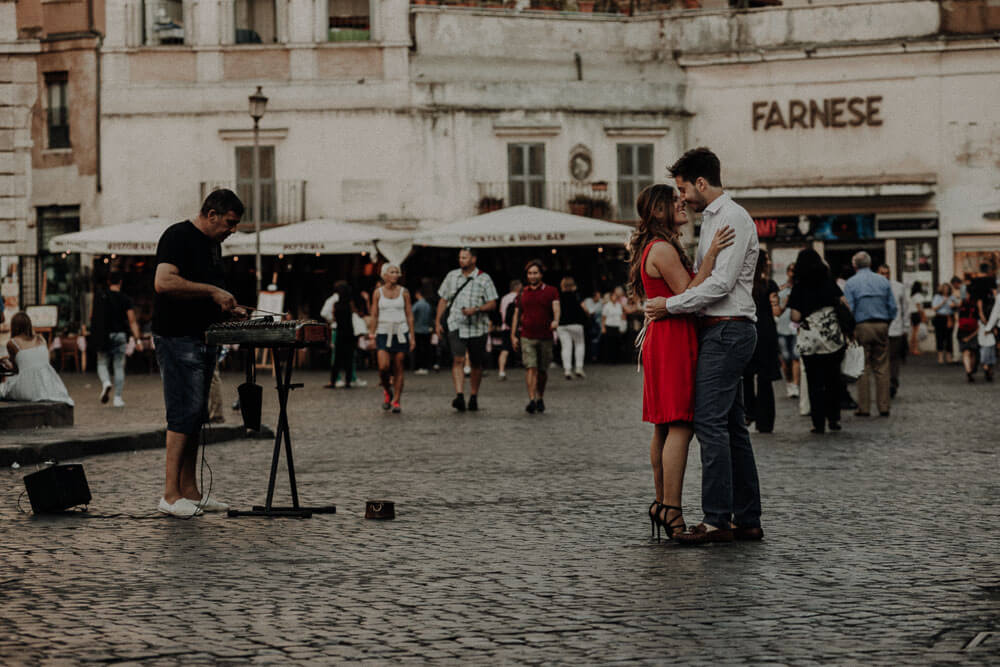 romantic engaged dancing in rome
