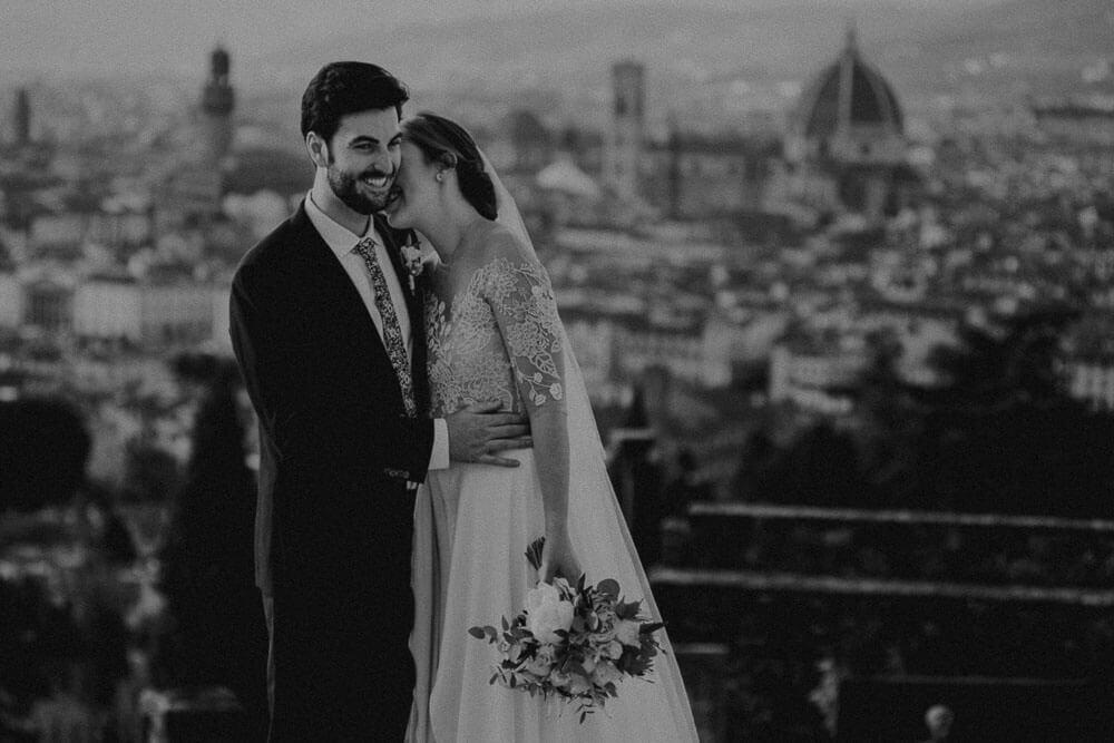 wedding couple photo from piazzale michelangelo in florence