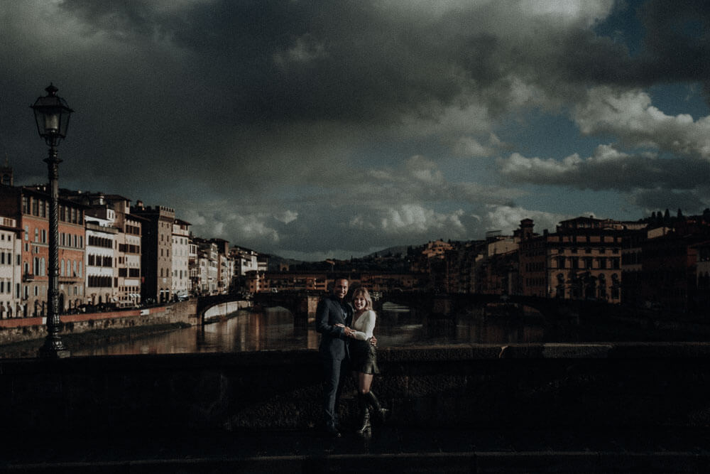 Winter engagement in Florence, Tuscany