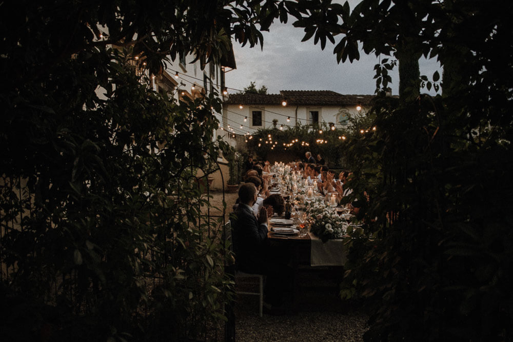 outdoor wedding table at villa le piazzole, florence, tuscany