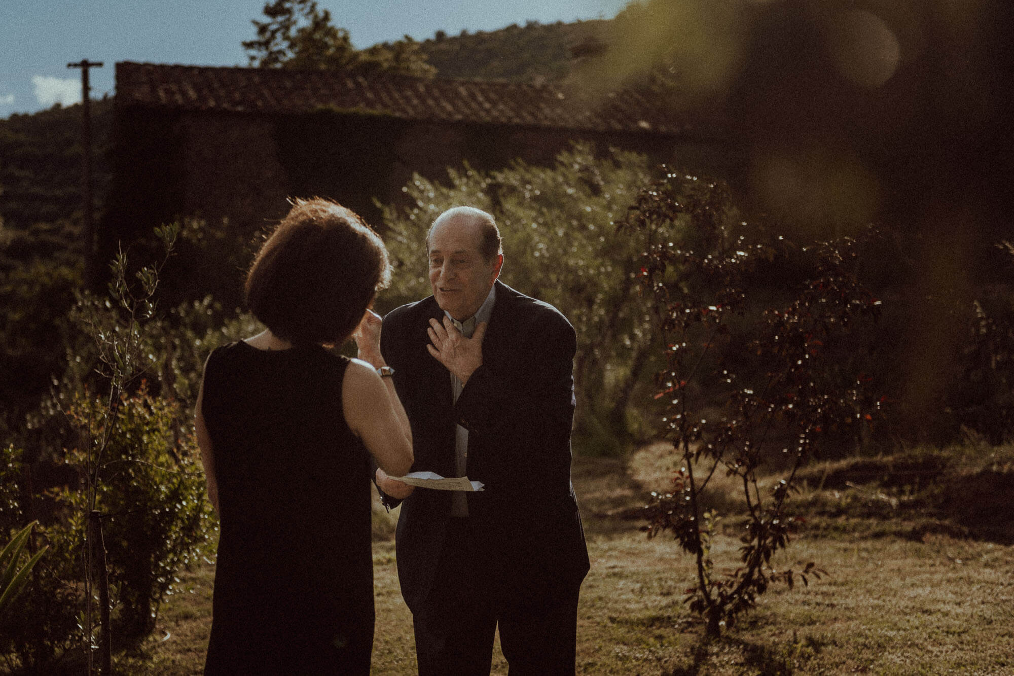 wedding vow renewal ceremony in tuscan country