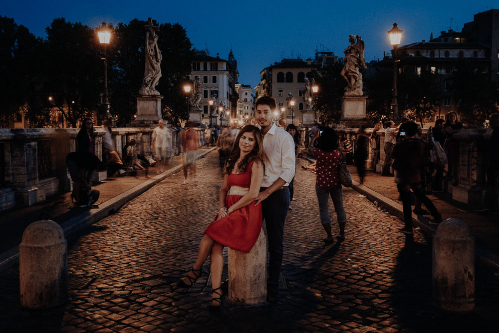 engaged couple photo at castel sant'angelo in rome