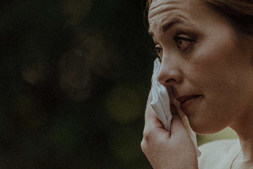emotive bride during ceremony in arezzo