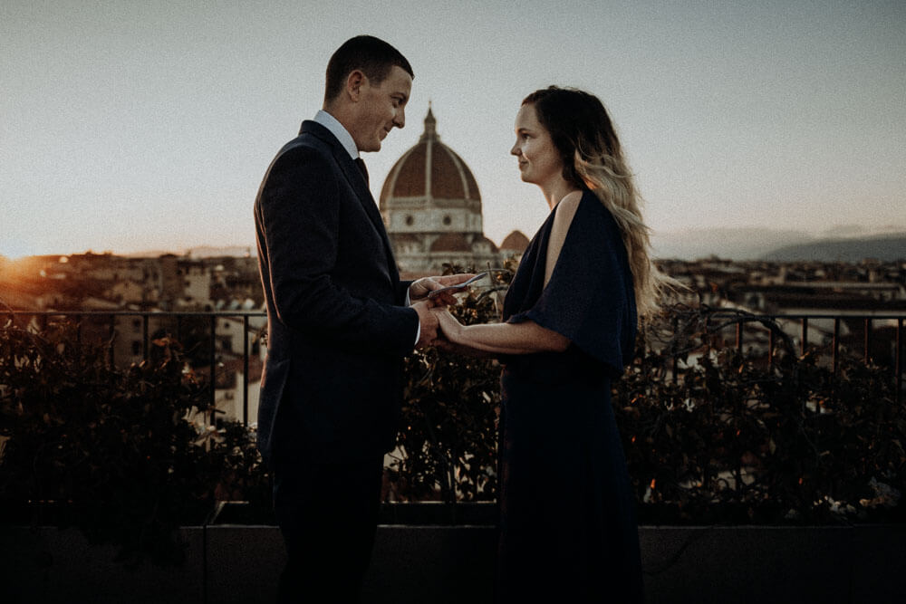 outdoor sunset terrace wedding in florence