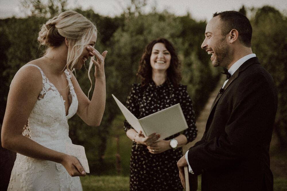 emotive couple during wedding in siena