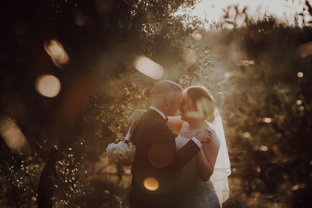 wedding in tuscany: sunset couple session in the olive grove
