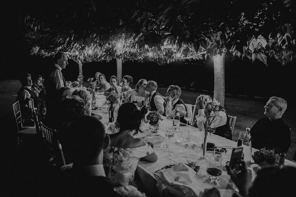 speeches during wedding dinner in tuscany