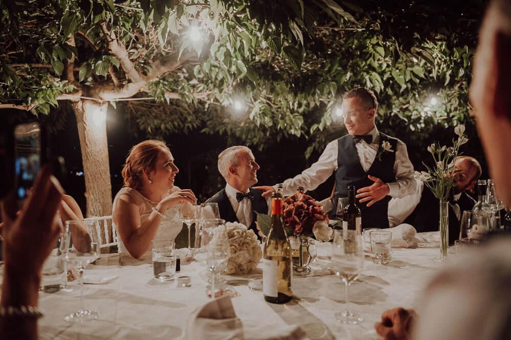 speeches during irish wedding dinner in tuscany