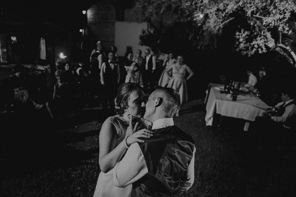 destination wedding in tuscany: bride and groom first dance