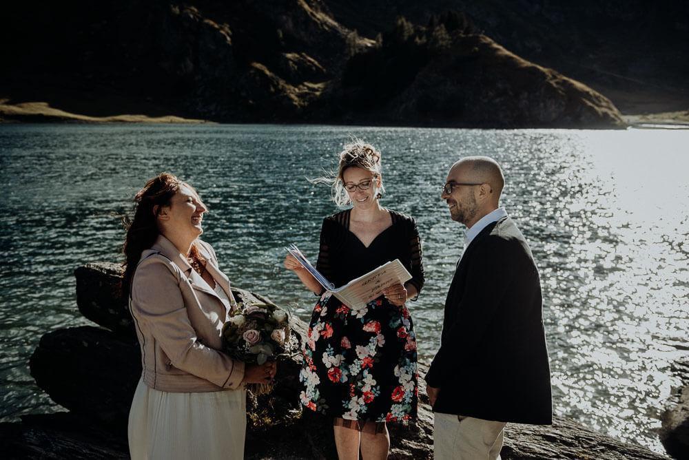 adventure elopement wedding, couple laughing