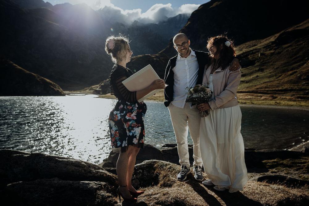 intimate adventure alps elopement ceremony