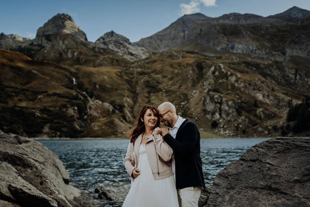 epic couple portrait, dolomites adventure elopement on lake