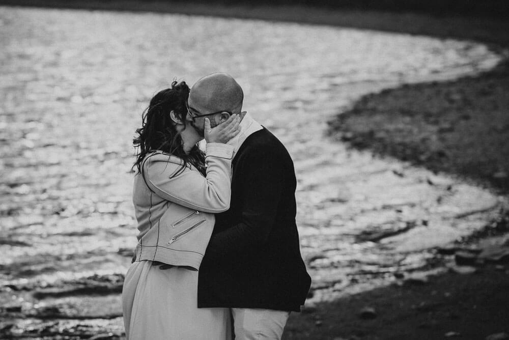 romantic couple kiss, alps elopement wedding