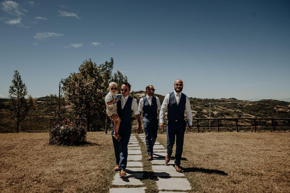 groom arriving at ceremony, wedding in piedmont