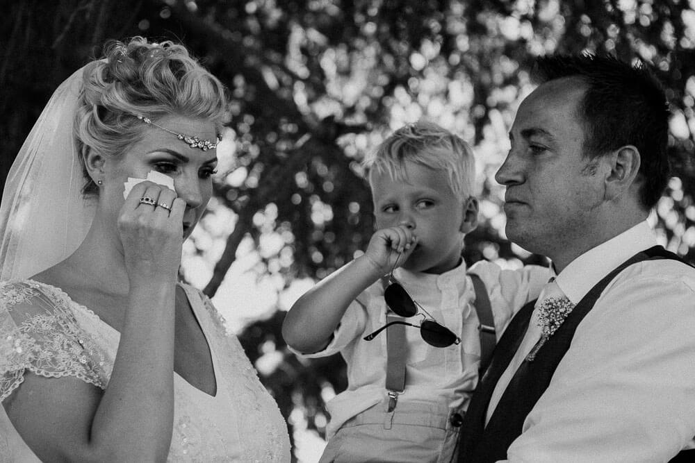 tears of joy from the bride during ceremony in piedmont
