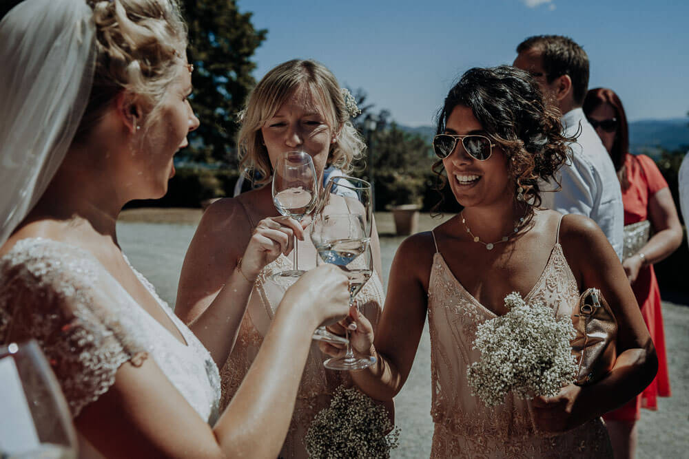bride with bridesmaids making a toast, langhe, piedmont