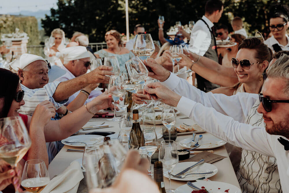 guests making a toast, piedmont wedding