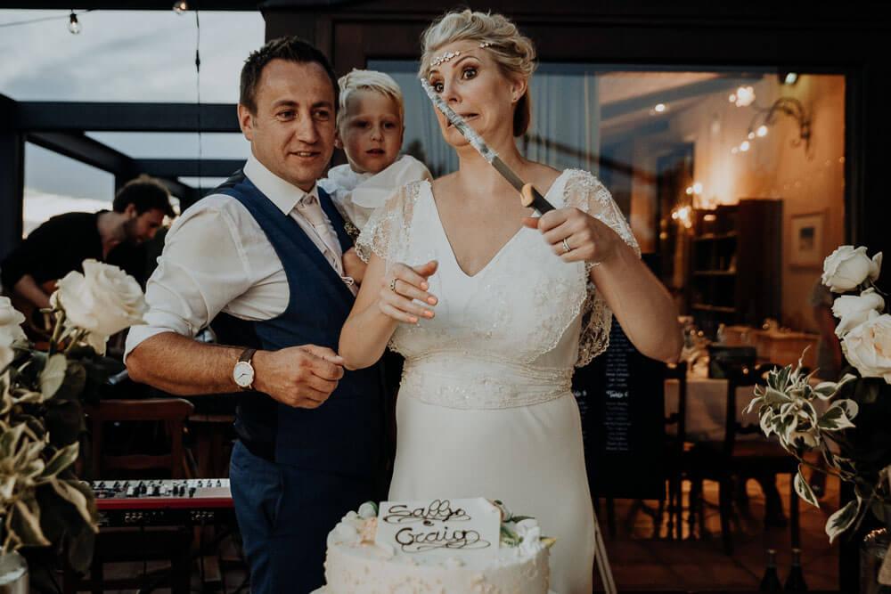 funny cake cutting, piedmont wedding
