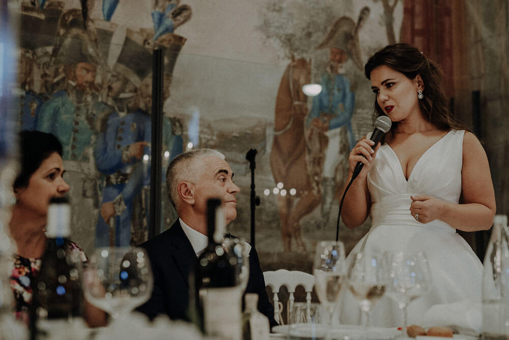 bride involved in speeches, italy wedding in tuscany