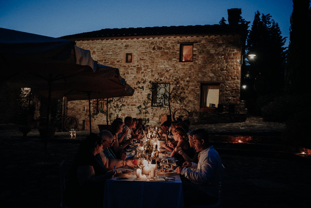candlelight outdoor wedding dinner in tuscany