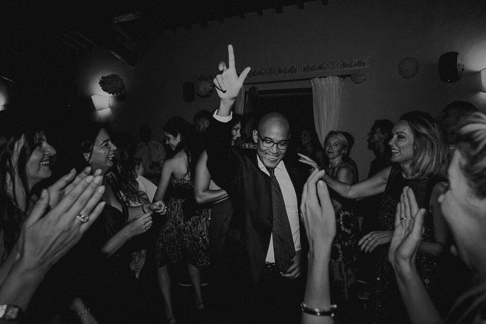 crazy wedding dance party in cortona, tuscany