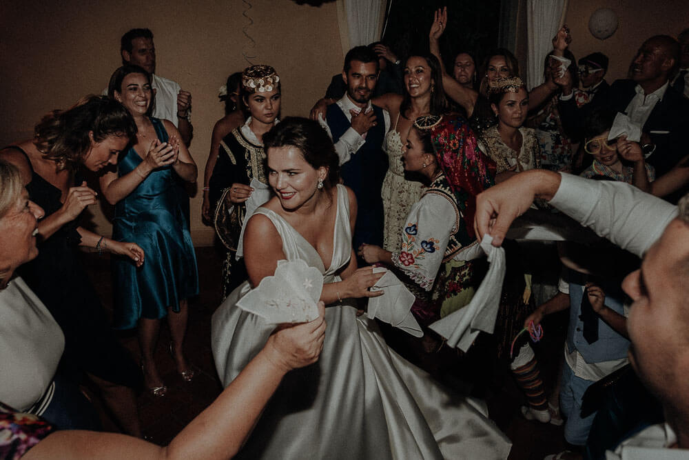 crazy wedding dance party in tuscany